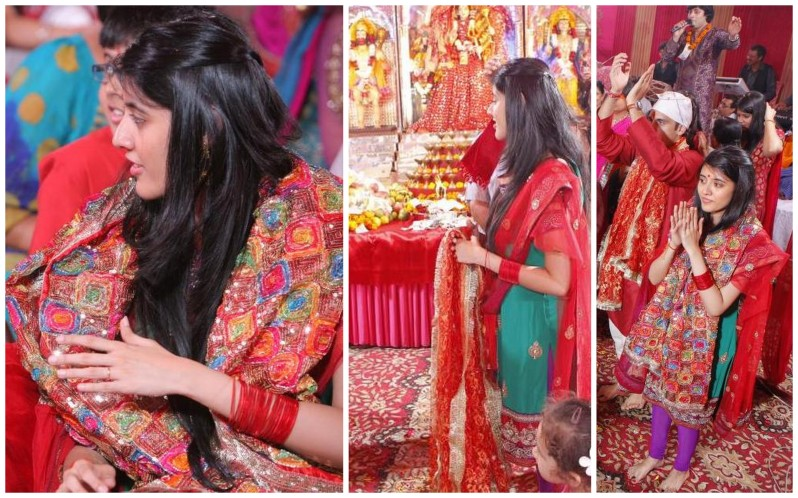 (L-R) The colorful cloth for the bride; the plain red one for the groom