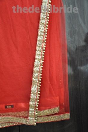 Gift #2: A classic red net sari with sequins border (paired with a brocade petticoat and blouse - not in the pic)