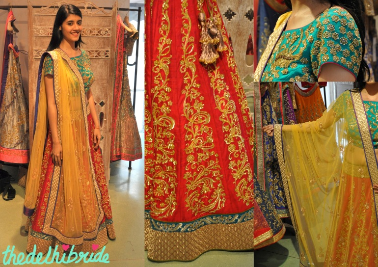 Classic red lehenga given a colourful twist
