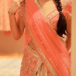 Another white lehenga with pink dupatta
