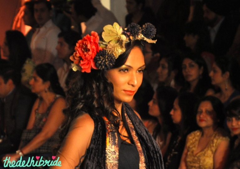 Floral headpiece Falguni Shane Peacock IBFW 2013 with golden eyeshadow