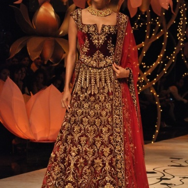 Classic red and gold bridal lehenga.