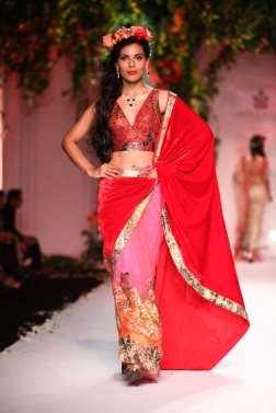 Royal red saree in velevet combined with delicate pink net