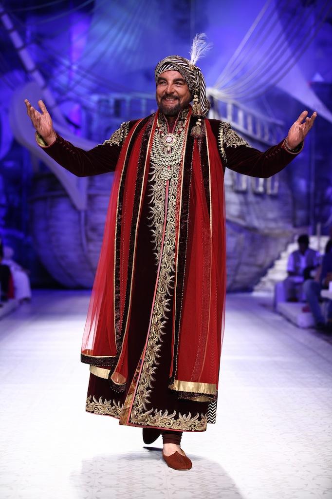 Seen at India Bridal Fashion Week Delhi 2013 - Kabir Bedi as the showstopper JJ Valaya's Opening Show - Maharaja of Madrid 1