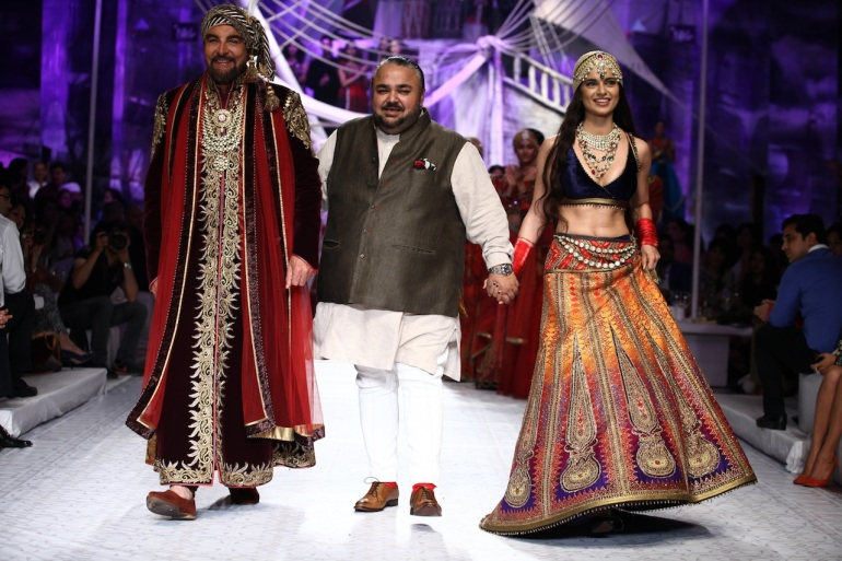 Seen at India Bridal Fashion Week Delhi 2013 - Kabir Bedi, JJ & Kangana Ranaut as the showstopper JJ Valaya's Opening Show - Maharaja of Madrid