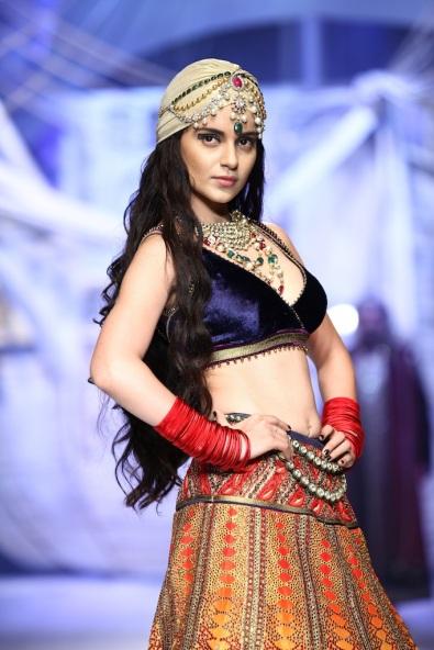 Seen at India Bridal Fashion Week Delhi 2013 - Kangana Ranaut as the showstopper JJ Valaya's Opening Show - Maharaja of Madrid 1