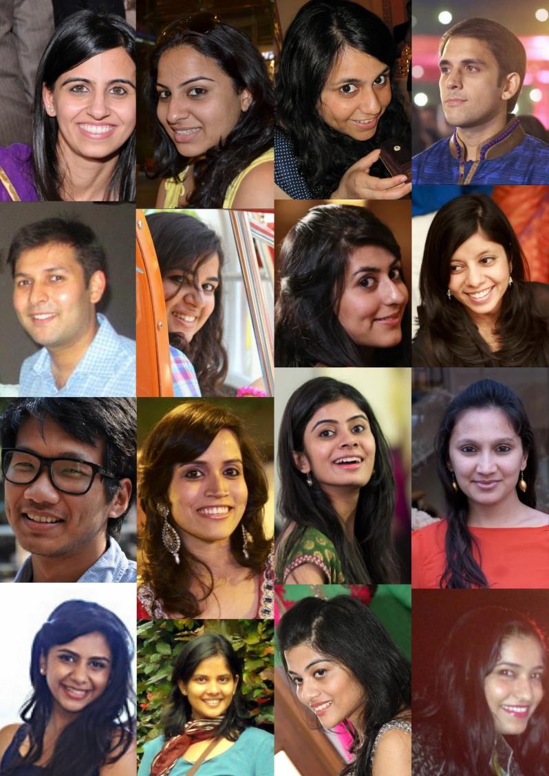 Row-wise L-R panel members: (1) Sakshi, Stefanie, Ruchi, Aman (2) Rohan, Cliantha, Namrata, Karishma (3) Vishal, Ankita, Shilpi, Dhanya (4) Vidhi, Aditi P, Mehak S, Roli GV