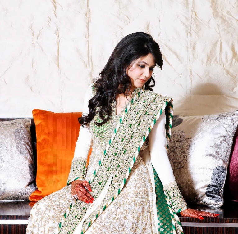 Off-white, green, gold backless anarkali with zardozi work