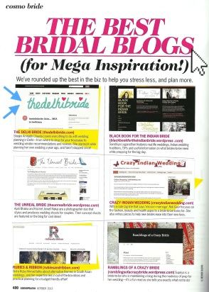 Cosmo Bride Oct 2013 thedelhibride Shinjini Amitabh Chawla the best bridal blogs