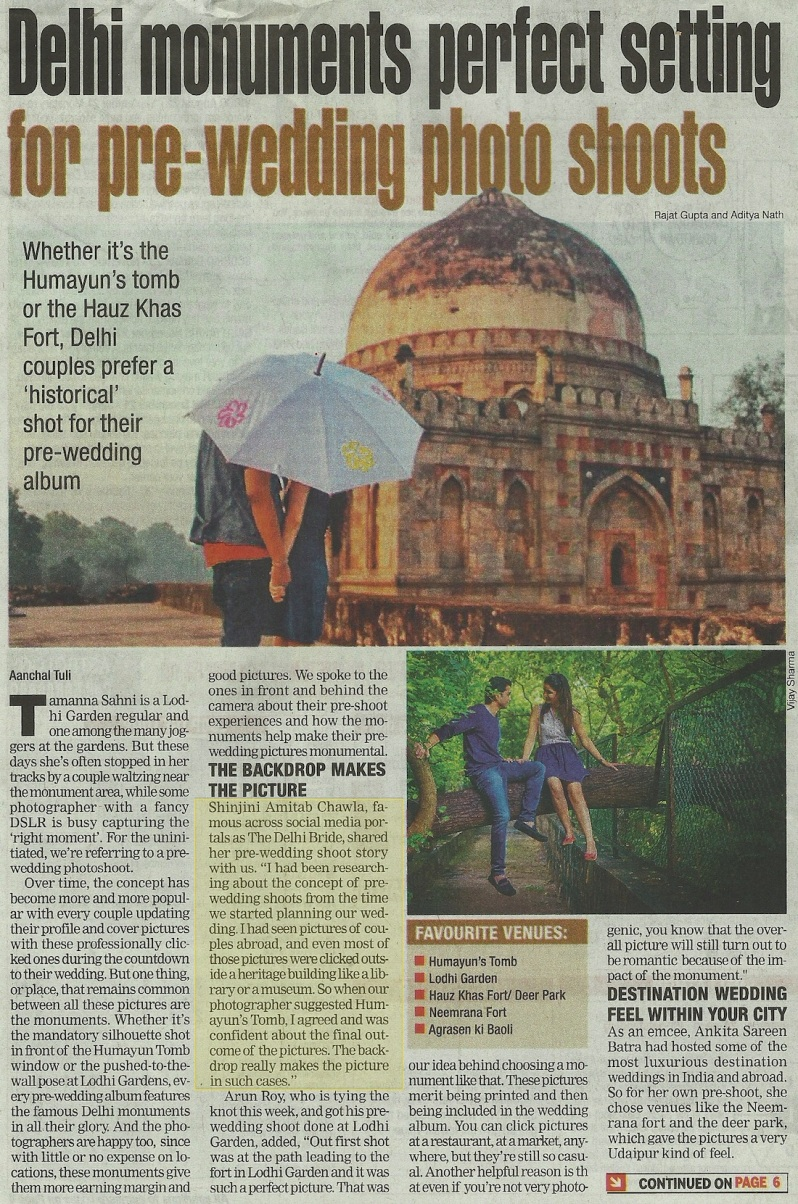 Delhi Times Nov 2013 Shinjini Amitabh Chawla thedelhibride