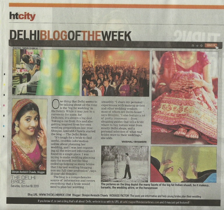HT City Shinjini Amitabh Chawla thedelhibride blog of the week