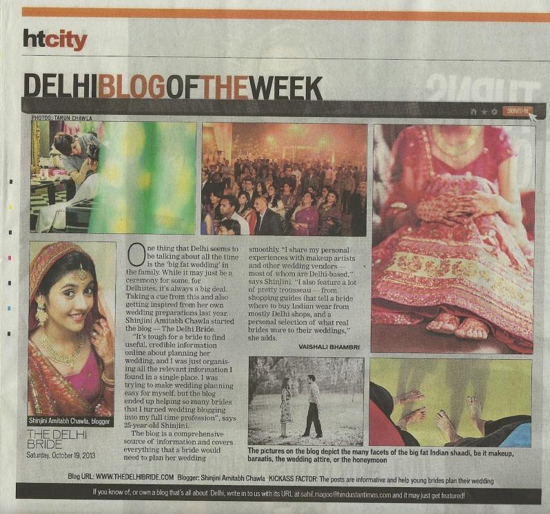 HT City Shinjini Amitabh Chawla thedelhibride blog of the week