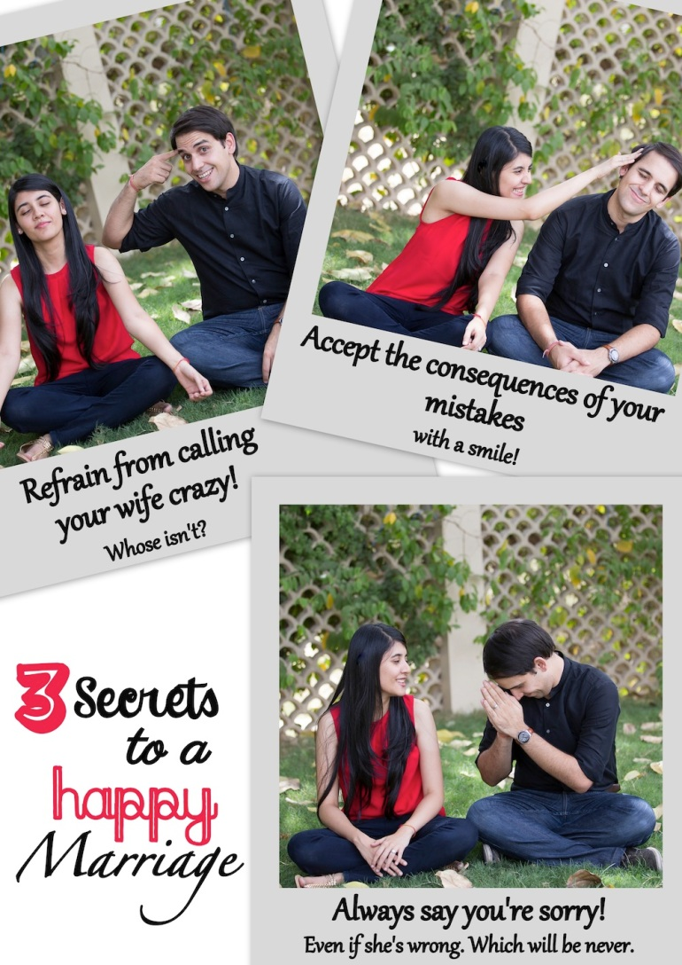 3 secrets to a happy marriage funny collage