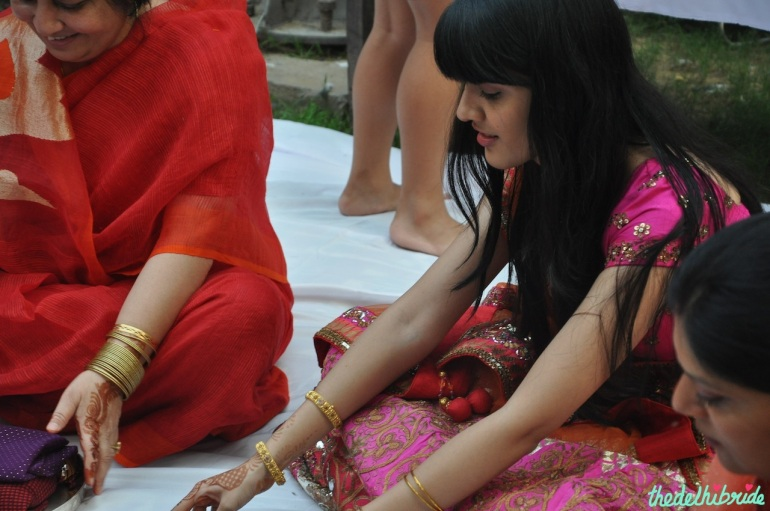 Happy to finally get a chance to sit in the circle and do the puja