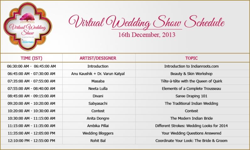 virtual wedding show schedule - IST