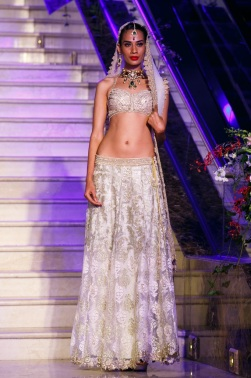 White baroque lehenga Trousseau Week 2013 fashion show