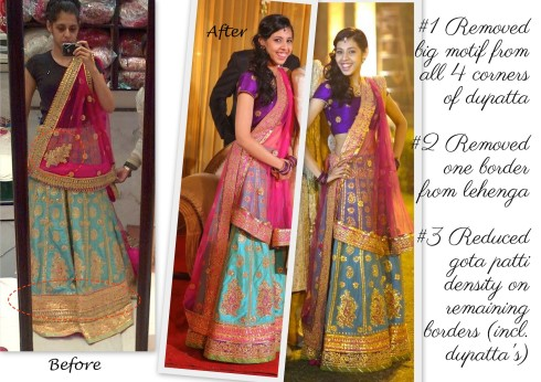 How to reduce cost of my gota patti lehenga from om prakash jawharlal
