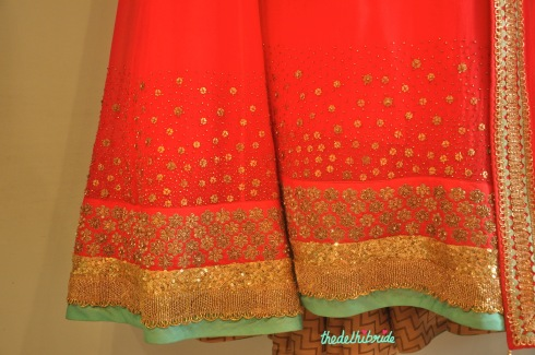 Madsam Tinzin Summer 2014 collection preview coral anarkali border