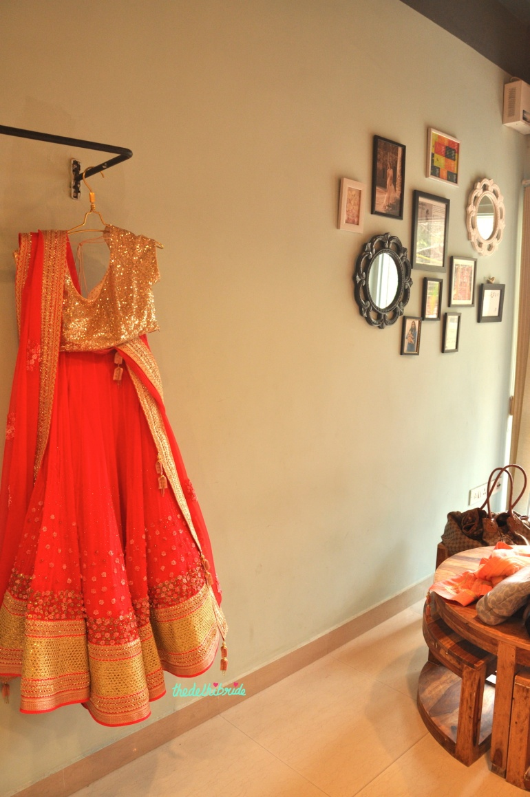 Madsam Tinzin Summer 2014 collection preview coral lehenga with heavy gold sequinned blouse