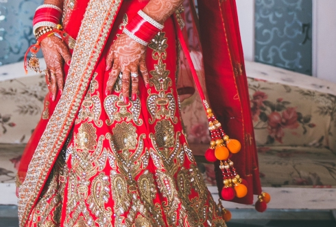 colourful latkans on wedding lehenga Sumedha wedding wardrobe