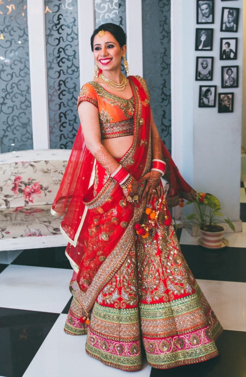 full length front wedding lehenga Sumedha wedding wardrobe