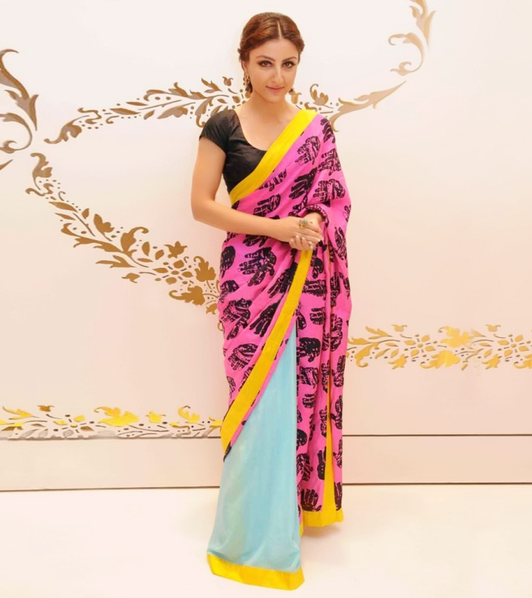 Masaba Gupta palm print sari Soha Ali Khan