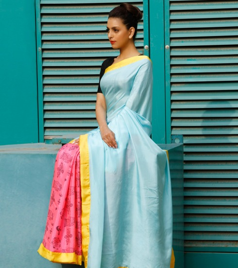 Masaba Gupta sky blue rose pink sari