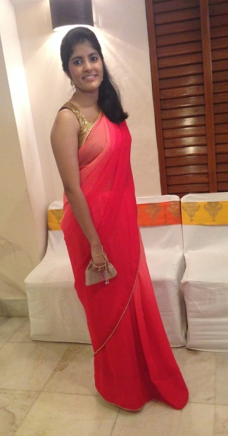 TDB Wedding Guest Style shaded pink sari sequin blouse 2