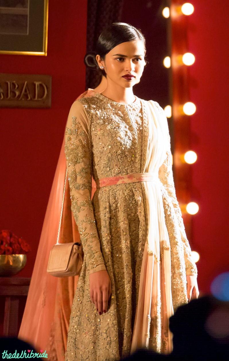 Anarkali with floral belt Sabyasachi India Couture Week 2014