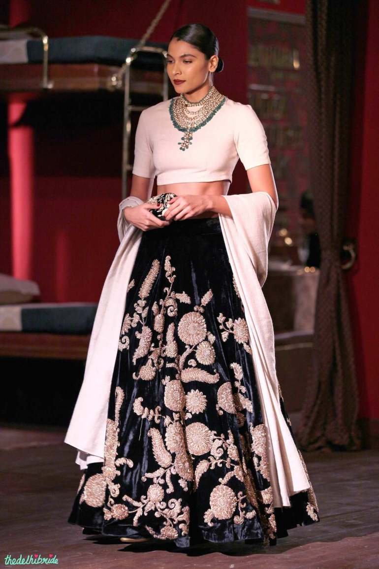 Black velvet lehenga with vintage muslim zardozi embroidery