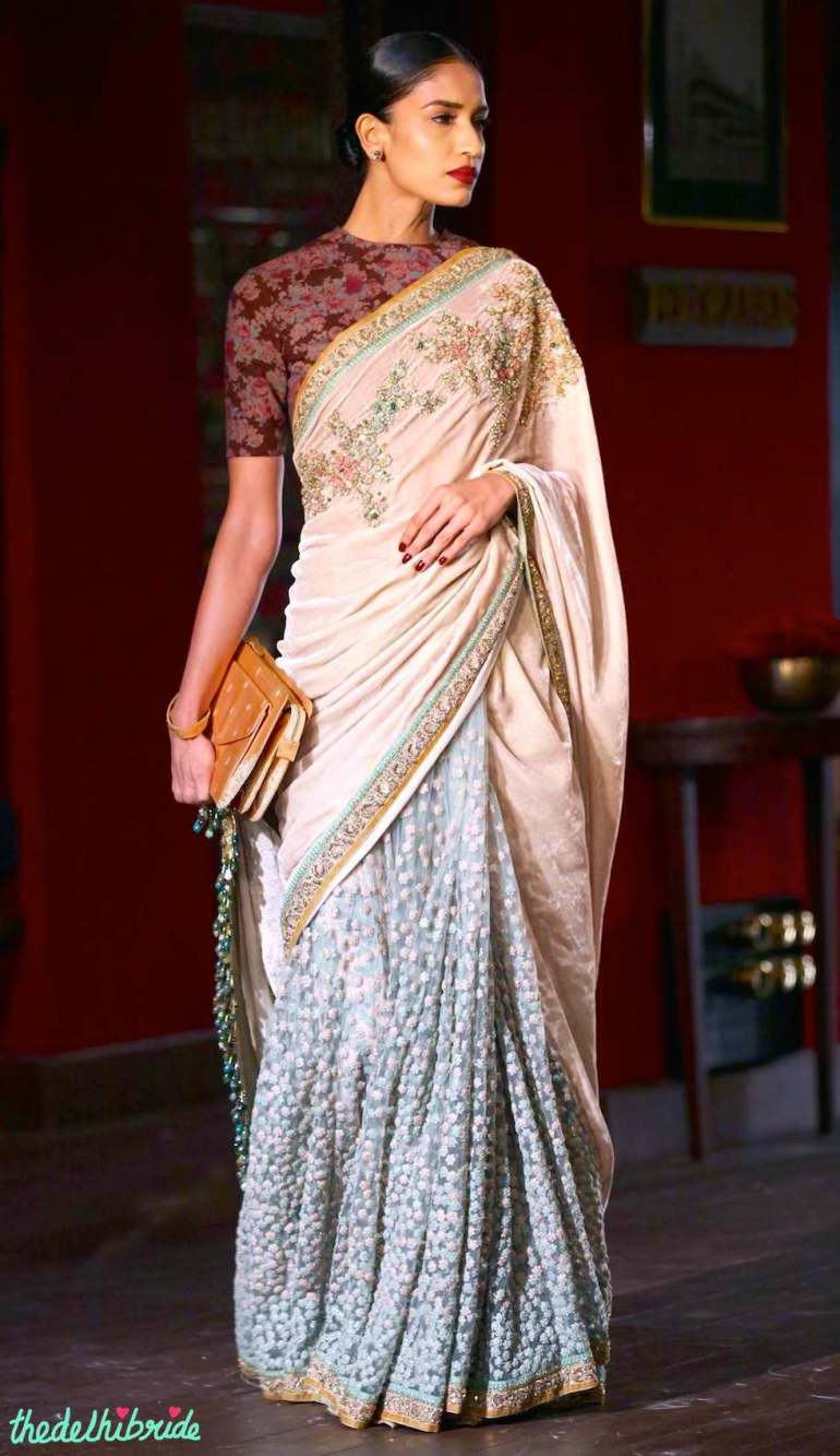 Velvet & tulle sari with hand embroidered bijoux detail and zardozi border