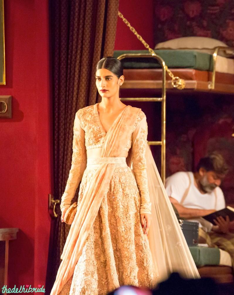 Heavily embroidered nude lehenga Sabyasachi India Couture Week 2014