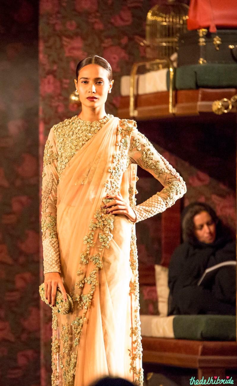 Nude sari heavily embellished blouse 1 Sabyasachi India Couture Week 2014