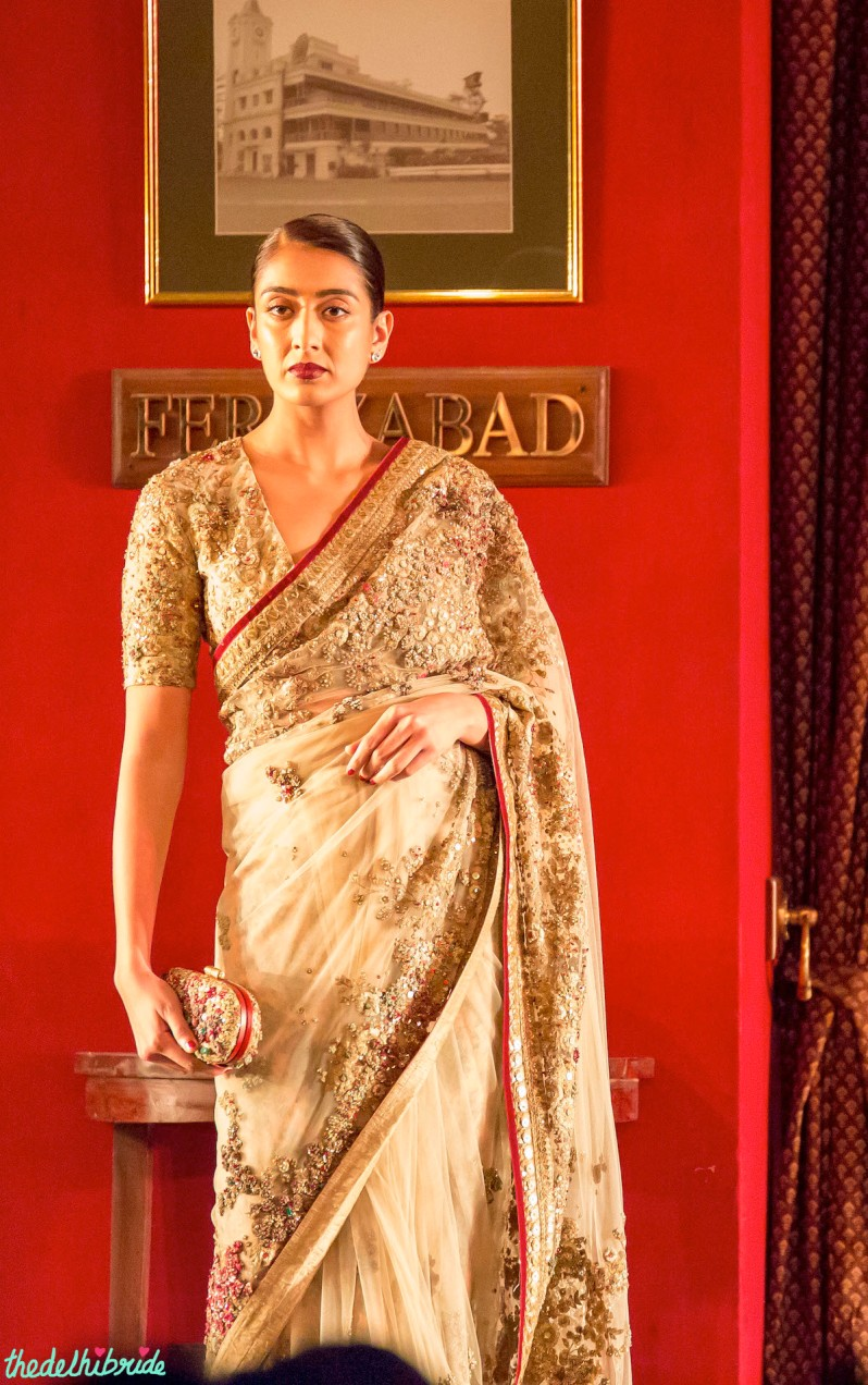 Paradiso sari and blouse encrusted with semi precious stones Sabyasachi India Couture Week 2014