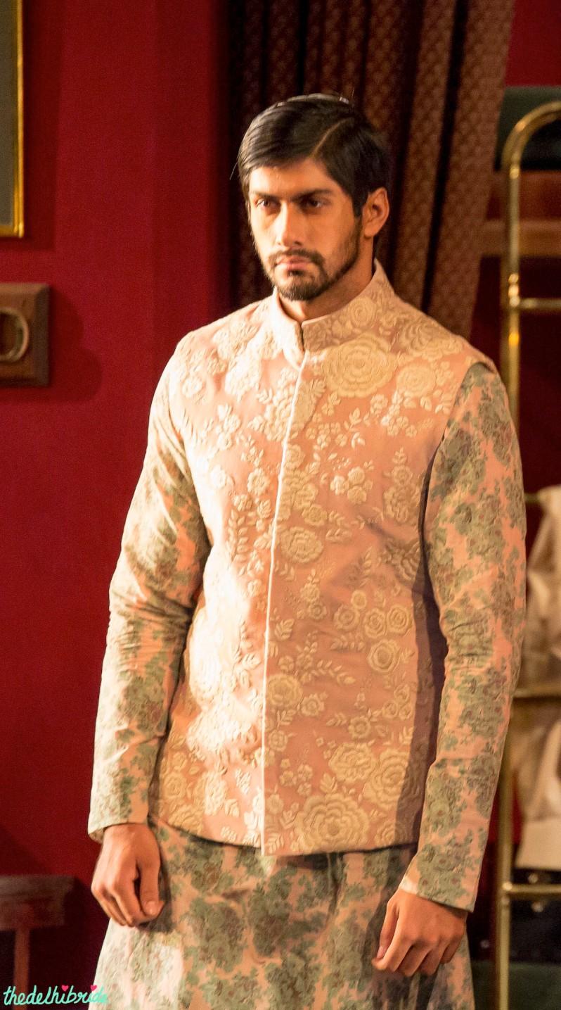 Pastel pink Nehru jacket Sabyasachi India Couture Week 2014
