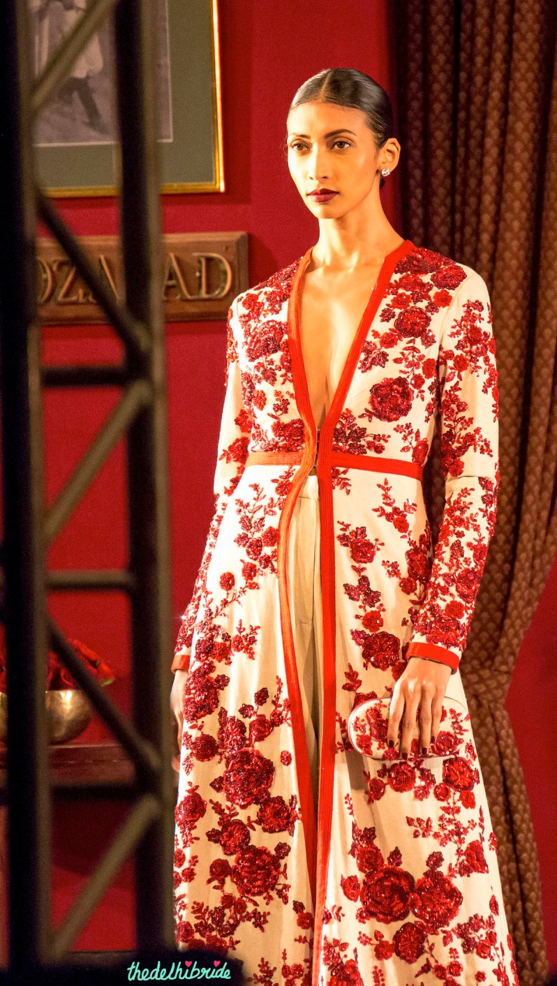 Sun bleached canvas jacket embellished with Agra Zardozi in evil Burma Red