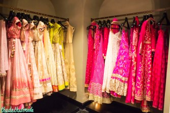 Bright hued lehengas tempt you to come over and browse