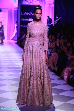 Beige anarkali Anita Dongre Lakme Fashion Week 2014