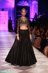 black raw silk lehenga with embroidered blouse Anita Dongre Lakme Fashion Week 2014