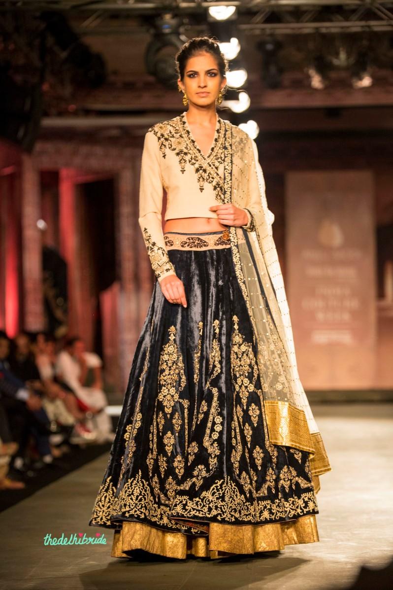 Black velvet lehenga 2 Anju Modi India Couture Week 2014
