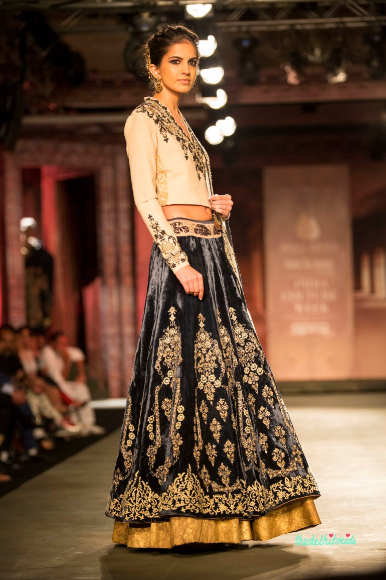 Black velvet lehenga 3 Anju Modi India Couture Week 2014