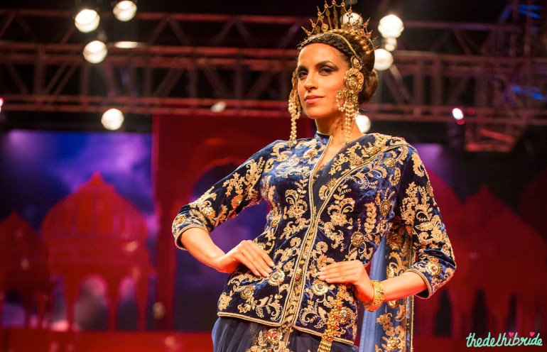 blue blouse Suneet Varma India Bridal Fashion Week 2014