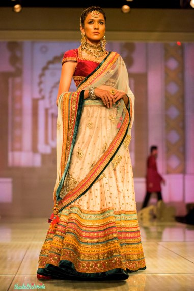 blush pink lehenga multi coloured borders 1 Tarun Tahiliani India Bridal Fashion Week 2014