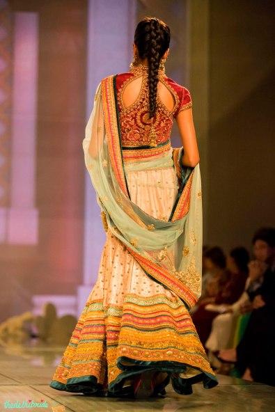 blush pink lehenga multi coloured borders 2 Tarun Tahiliani India Bridal Fashion Week 2014