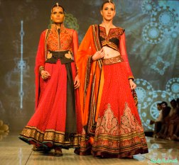 burnt orange lehengas Tarun Tahiliani India Bridal Fashion Week 2014