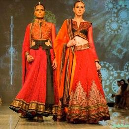 burnt orange lehengas Tarun Tahiliani India Bridal Fashion Week 2014