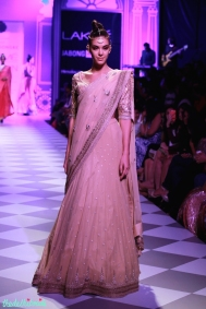 deep blue leheriya lehenga with white blouse Anita Dongre Lakme Fashion Week 2014