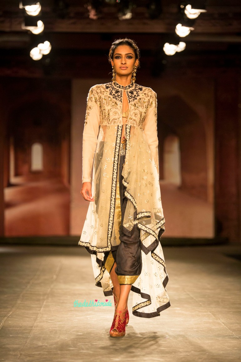 Dhoti layered jacket black white 1 Anju Modi India Couture Week 2014