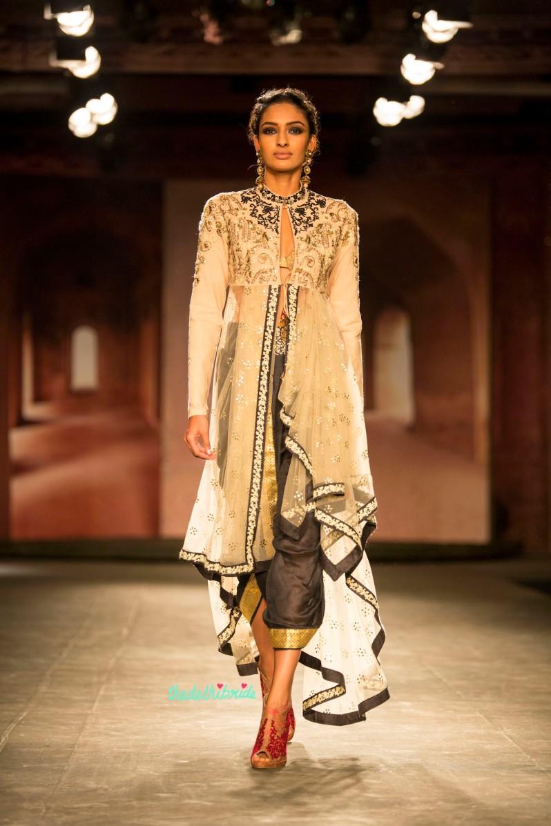 Dhoti layered jacket black white 1 Anju Modi India Couture Week 2014