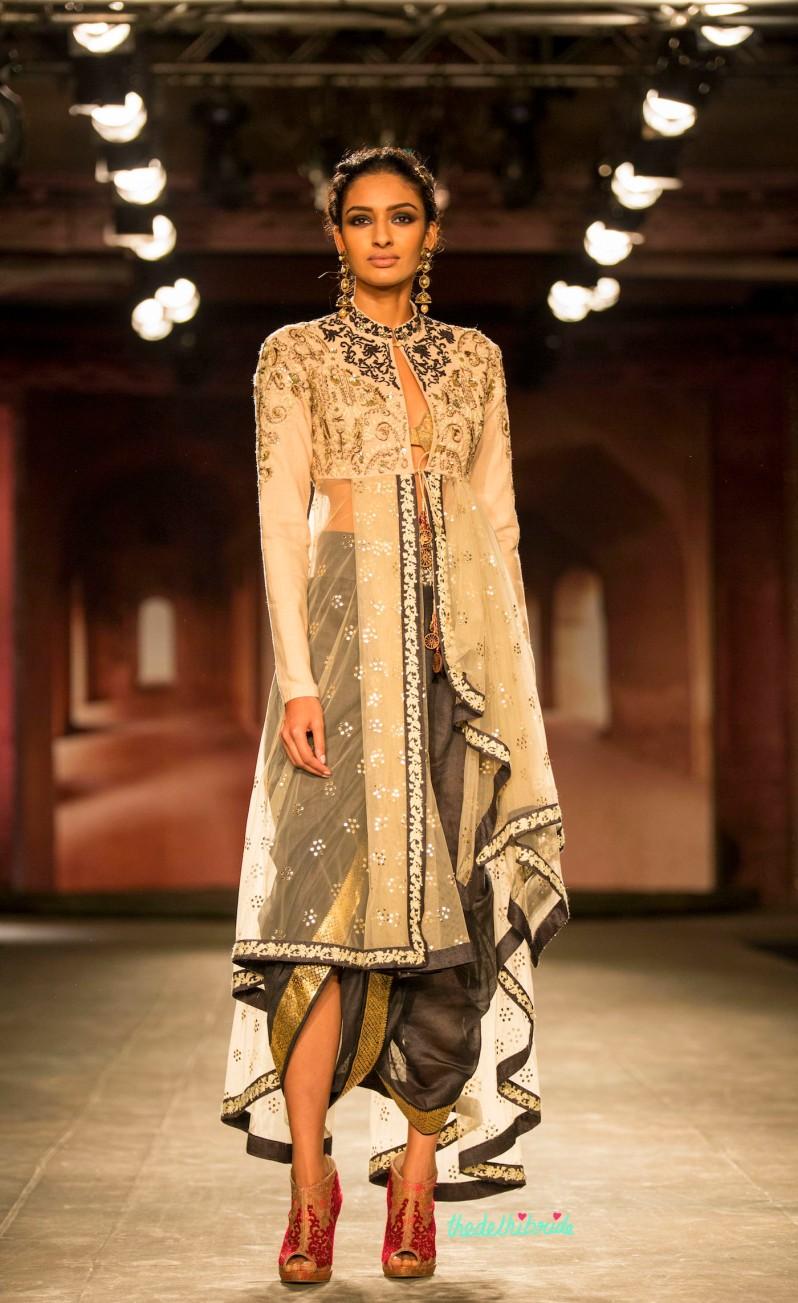 Dhoti layered jacket black white 2 Anju Modi India Couture Week 2014